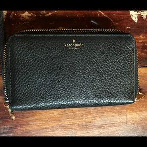 Kate Spade Black pebble leather wallet